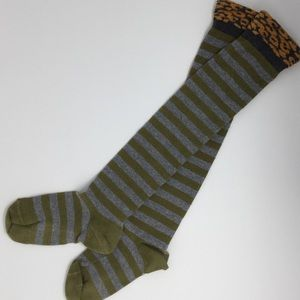 Green and grey stripe over the knee socks